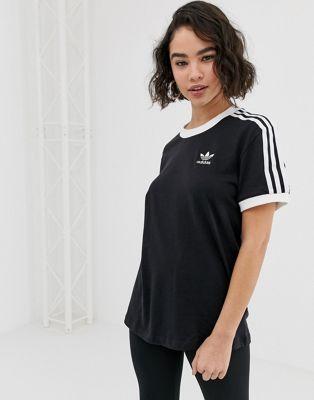 Adidas Originals – adicolor – Schwarzes T-Shirt mit drei Streifen