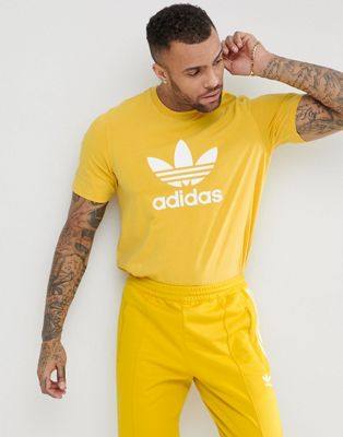adidas Originals adicolor T-Shirt With Trefoil Logo In Yellow CW0706
