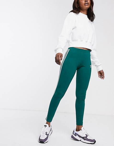 adidas Originals adicolor three stripe leggings in green