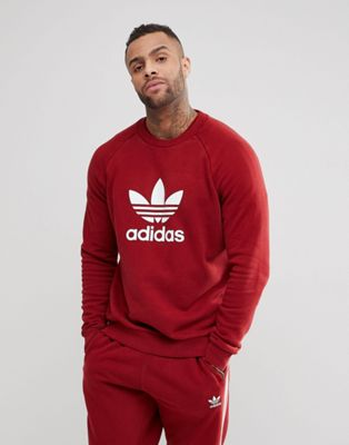 adidas Originals adicolor Trefoil Logo Sweat In Burgundy CX1897