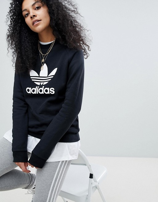 6e03e6888b6ad Adidas Originals adicolor trefoil oversized sweatshirt in black | ASOS