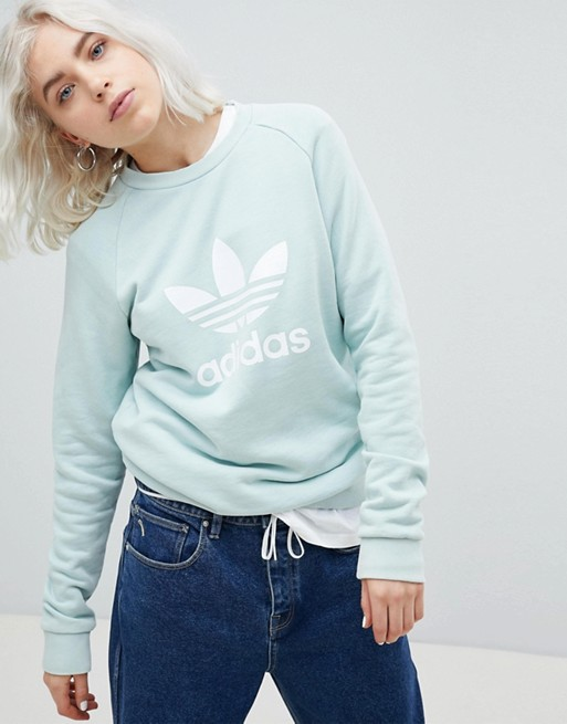 433aa46c27f42 adidas Originals adicolor Trefoil Oversized Sweatshirt In Mint | ASOS