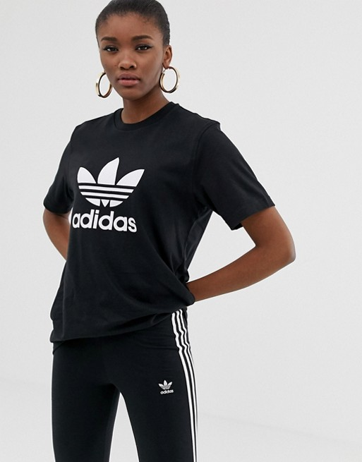 0c07b84822dd adidas Originals adicolor trefoil oversized t-shirt in black | ASOS