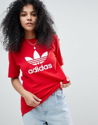 adidas Originals adicolor Trefoil Oversized T-Shirt In Red