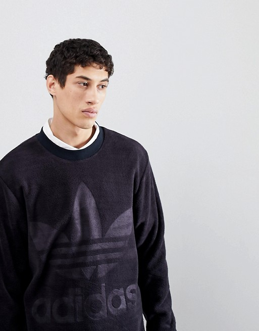 Image 1 of adidas Originals adicolor Velour Sweatshirt In Oversized Fit In Black CY3551