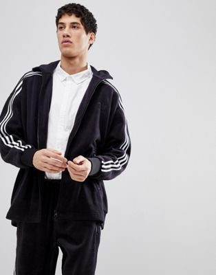 adidas Originals adicolor Velour Track Jacket In Oversized Fit In Black CY3541