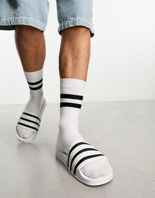 adidas Originals – Adilette –  Slider in Weiß und Schwarz