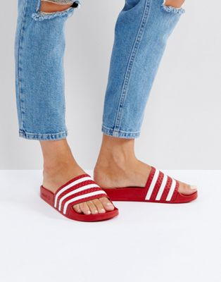 adidas Originals Adilette Slider Sandals In Red