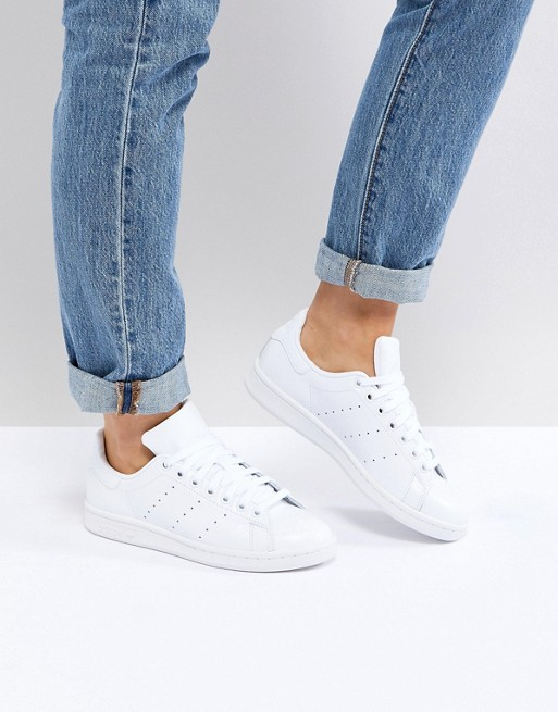 869585d4a40e adidas Originals All White Stan Smith Sneakers