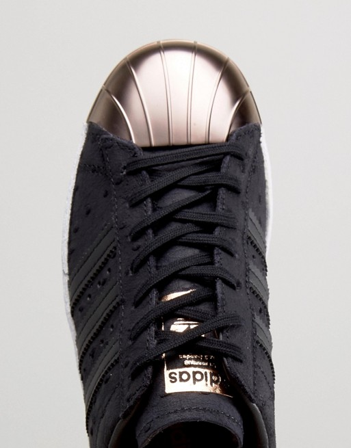d0715835c6428 adidas Originals Black Metallic Superstar Trainers With Rose Gold ...