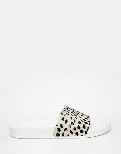 adidas Originals Cheetah Print Slider Flat Sandals