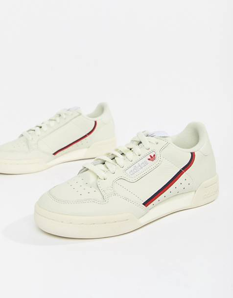 adidas Originals Continental 80's Sneakers In Off White And Red