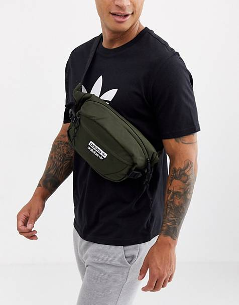 adidas Originals fanny pack with vocal logo in khaki