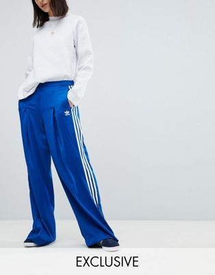 adidas Originals Fashion League Wide Leg Track Pants In Bright Blue