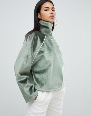 Image 1 of adidas Originals Faux Fur High Neck Top In Green