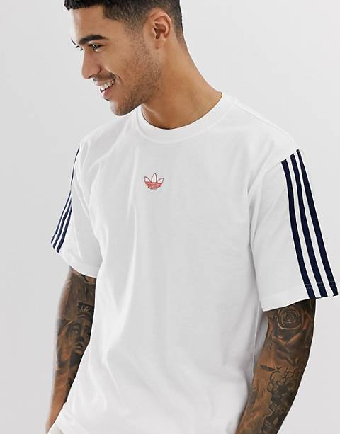 adidas Originals Floating Stripe T-Shirt in white