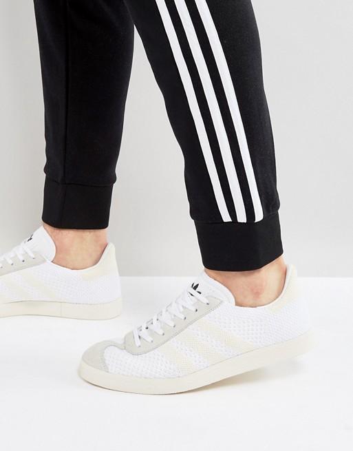 online store 1cd20 e7164 Image 1 of adidas Originals Gazelle Primeknit Trainers In White BZ0005