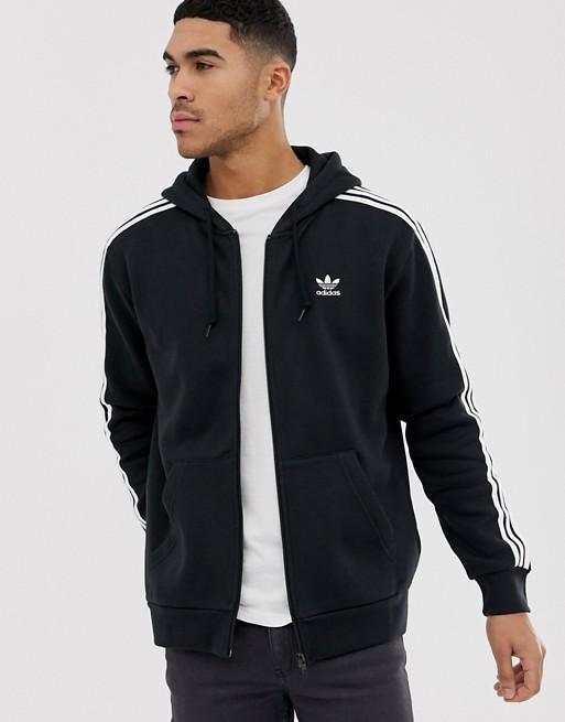 adidas Originals - Hoodie à fermeture éclair avec petit logo trèfle - Noir DV1551