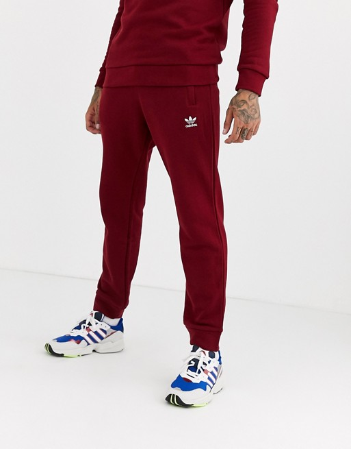 adidas Originals Joggers with logo embroidery in burgundy