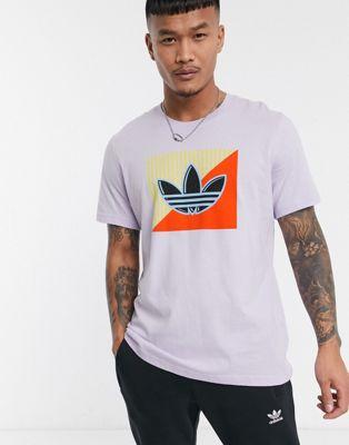 adidas Originals – Lila t-shirt med diagonalt treklövertryck