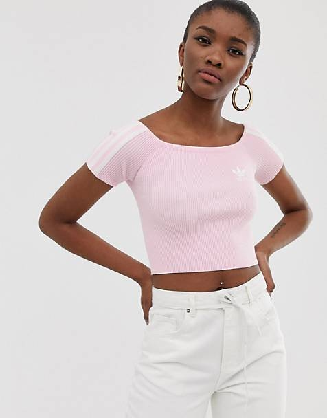 adidas Originals off shoulder knitted tshirt in pink