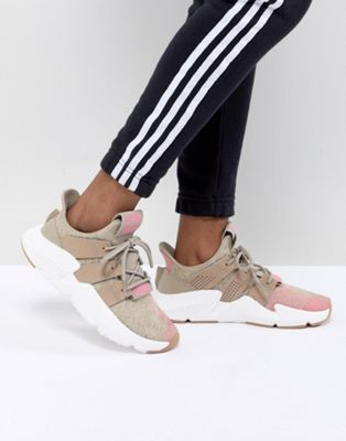 adidas Originals Prophere Trainers In Beige And Pink