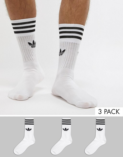 adidas Originals solid crew 3 pack socks in white s21489