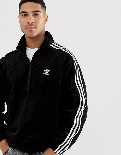 adidas Originals - Sort fløjlsjakke med halvlynlås