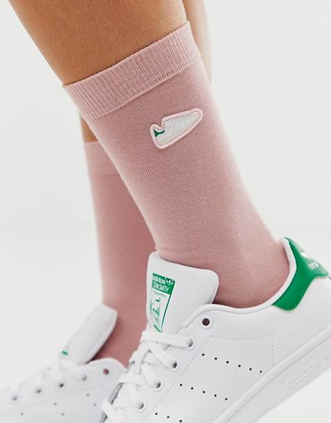 ebe9ca28d6976 adidas Originals Stan Smith embroidered socks in pink