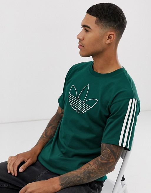 adidas Originals - T-shirt avec logo effet contour - Vert