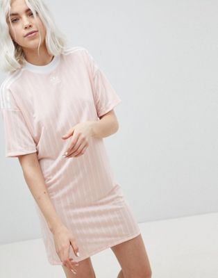adidas Originals Three Stripe Dress In Pink