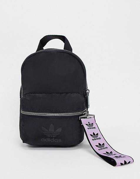 adidas Originals trefoil logo mini backpack in black and lilac