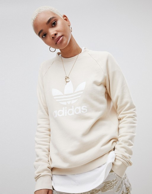 317ef5753baae adidas Originals Trefoil Oversized Sweatshirt In Cream | ASOS