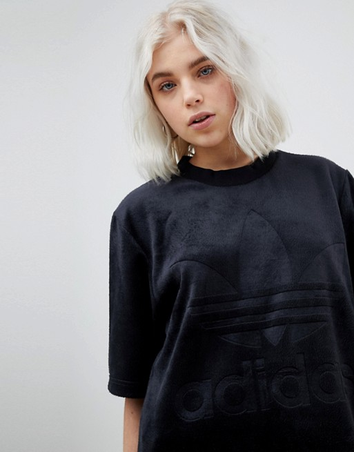 11eab99501ba adidas Originals Velour Oversized T-Shirt In Black | ASOS
