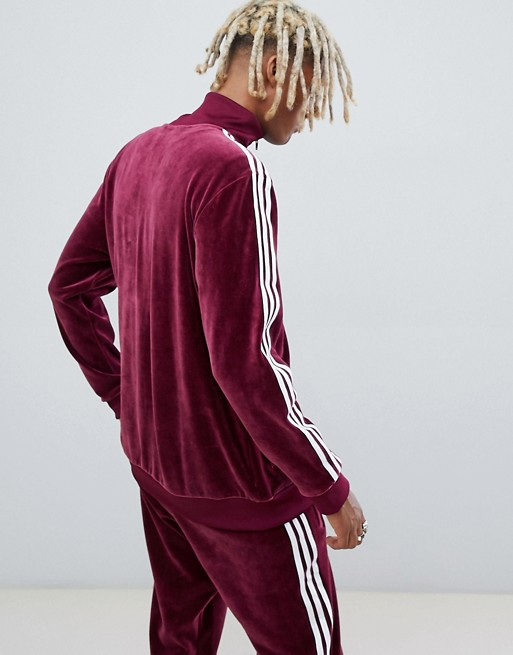 Velour Track Jacket In Red Dh5789