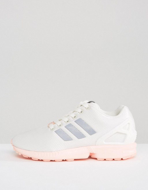 74ae5a6b0f4 adidas Originals White ZX Flux Sneakers With Pink Sole | ASOS