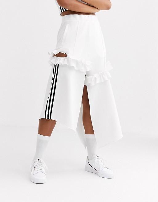 Adidas Originals X J Koo - Jupe À Volants Et Logo Trèfle Blanc Cassé