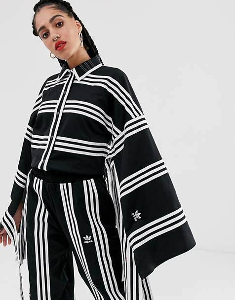 adidas Originals x Ji Won Choi mixed stripe kimono in black