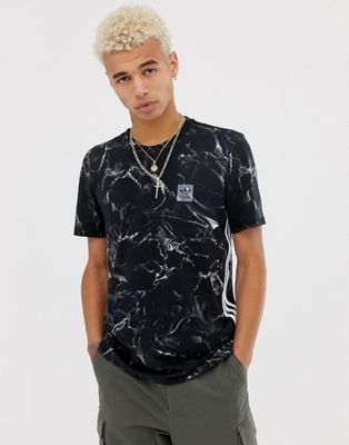 adidas - Skateboarding - T-shirt nera marmo a righe DH3902