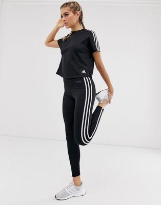 Adidas – Svarta leggings för träning med tre ränder
