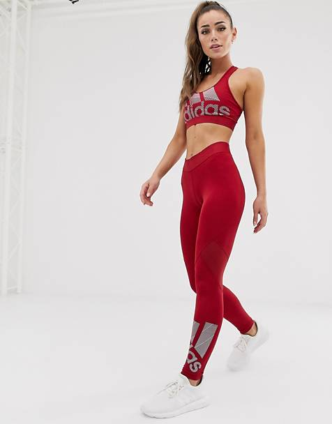 adidas Training logo leggings in burgundy