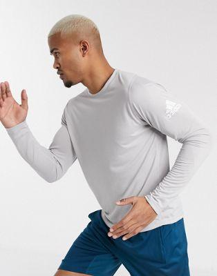 adidas Training long sleeve t-shirt with logo in grey