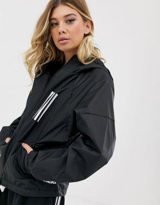 adidas Training – Schwarze Jacke mit drei Streifen