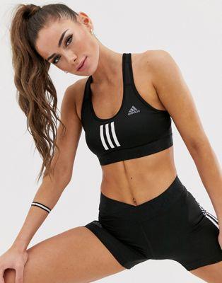 adidas Training – Schwarzer BH mit drei Streifen