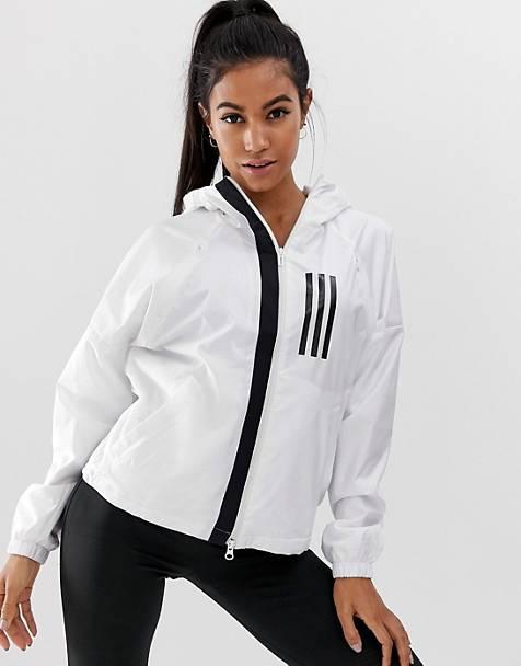 ddf4a6ecdfb8 adidas Training Three Stripe Wind Jacket In White