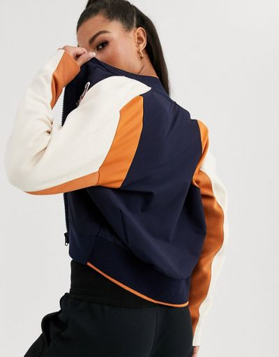adidas Varsity baseball jacket in navy