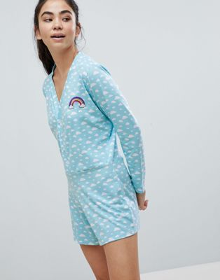 Adolescent Clothing Cloud Print Romper