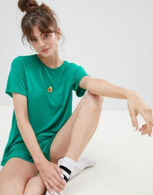 Adolescent Clothing embroidered avocado t-shirt and shorts pyjama set