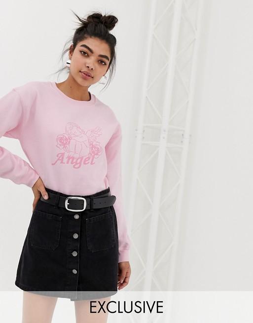 ClothingSweat Avec Adolescent Motif Ange Graphique shirt Oversize Boyfriend L4Rq35Aj