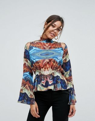 Image 1 of Aeryne High Neck Printed Top With Fluted Sleeve